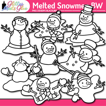 Melted Snowmen Clip Art | Frosty the Snowman for Winter Resources | B&W