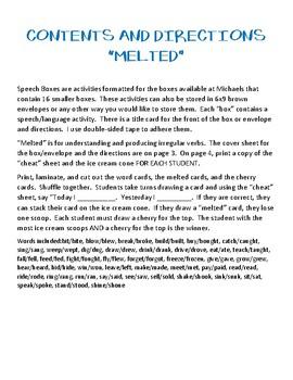 Melted - Speech Box for Irregular Verbs