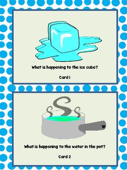 Melting, Freezing, Evaporating Cards...Meets NGSS and Texas TEKS 1.5b and 2.5b