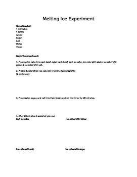 Melting Ice Science Experiment- Recording sheet
