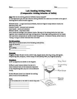 Melting Points/Bonding Lab