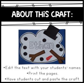 Melting Snowman Name Craft