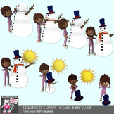 Melting Snowman Sequencing Clip Art - 8 Color & 6 Blackline Clipart Images
