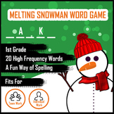 Melting Snowman Word Guess Game for Spelling - Grade 1
