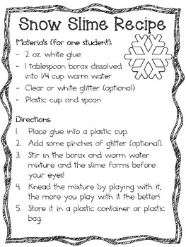 Melting Snowman and Snow Slime Science Labs ~ Winter Science Lab