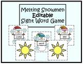 Melting Snowmen- Winter EDITABLE Sight Word Game- EASY PREP