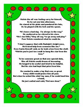Melvin The Elf Literacy Unit