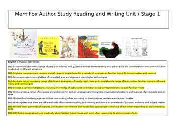 Mem Fox Reading and Writing Unit
