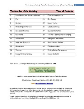 The Member of the Wedding McCullers- Teacher Text Guide & Worksheets