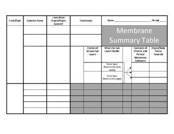 Membrane Summary Table (Histology)