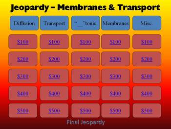 Membranes and Cell Transport: Jeopardy Style Review Game