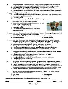 Memento Film (2000) 15-Question Multiple Choice Quiz