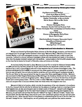 Memento Film (2000) Study Guide Movie Packet