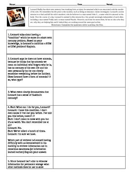 Memento Movie Guide for Psychology Memory Unit with Key