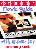 Psychology Memento Movie Guide for Memory Unit with Key