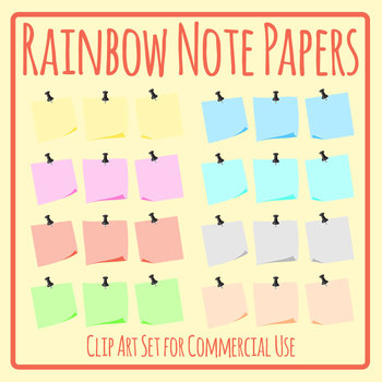 Memo Note Paper Similar to Post It Notes Blank Templates Clip Art Commercial Use