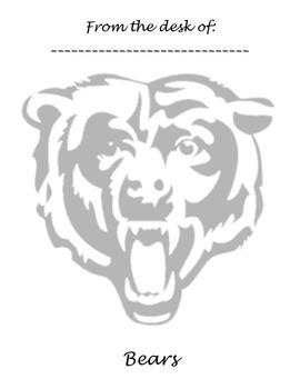 Memo Sheet Mascot Bears