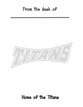 Memo sheet Titans