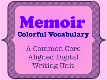 Memoir - A Common Core Aligned Digital Writing Unit - Replacing Overused Words