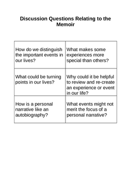 Memoir: Discussion Questions Relating to the Memoir
