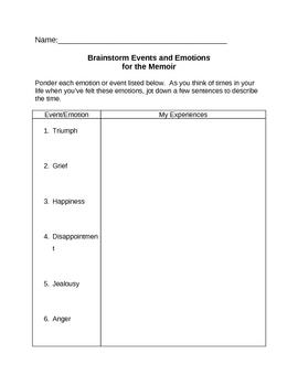 Memoir: Events and Emotions Brainstorming Handout