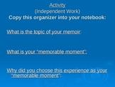 Memoir Lesson-organize your memoir into sections.