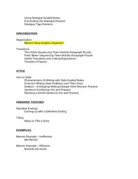 Memoir: Memoir Curriculum MEGA Unit All-in-One DEAL!
