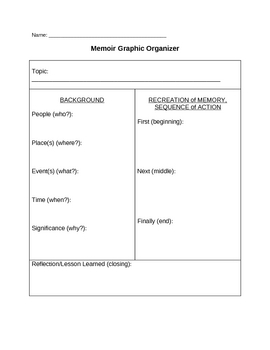 Memoir: Organization and Transitions MINI Unit All-in-One DEAL!