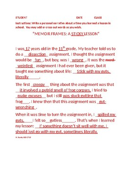 Memoir/Personal Narrative/Autobiographical Incident: The Lesson (Writing Frame)