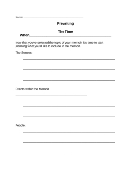 Memoir: Prewriting Handout - The Time When