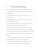 Memoir: Punctuating the Dialogue Practice Plus Answers