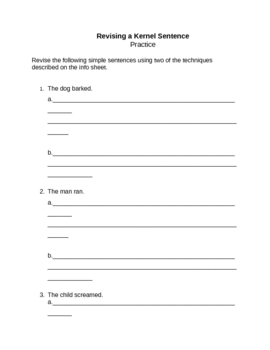 Memoir: Revising a Kernel Sentence Info and Practice