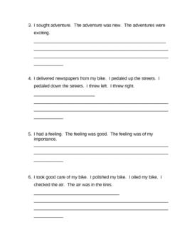 Memoir: Sentence Combining Info and Practice