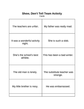 Memoir: Show, Dont Tell Team Activity