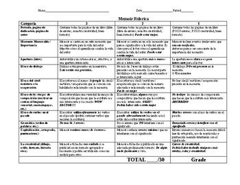 Memoir Spanish Rubric