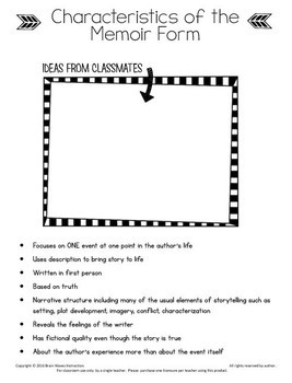 Memoir Study and Writing Unit:  10-Day Common Core Aligned Memoir Writing Unit