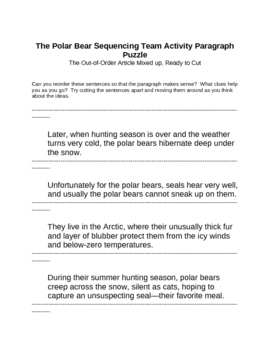 Memoir: The Polar Bear Sequencing Team Activity Paragraph Puzzle
