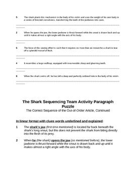 Memoir: The Shark Sequencing Team Activity Paragraph Puzzle