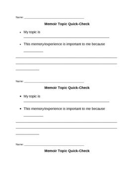Memoir: Topic Quick-Check