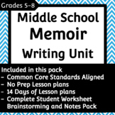 Memoir Writing Unit Plans and Student Brainstorming Packet