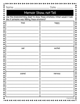 Memoir Writing Unit Plans And Student Packet