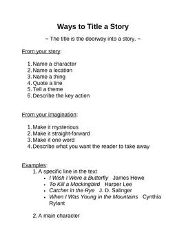 Memoir: Ways to Title a Story