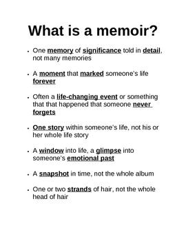Memoir: What Is a Memoir Guided Notes