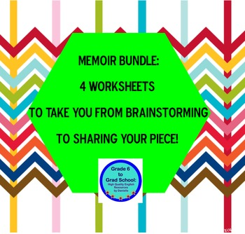 Memoir bundle: 4 worksheets generate idea, brainstorm, peer revise, share