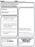 Memoirs of a Goldfish - Reading Comprehension Worksheet