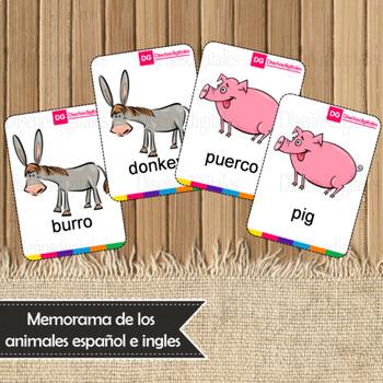 Memorama de animales de Granja en español e ingles