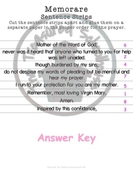 Memorare Prayer Prayer Pack
