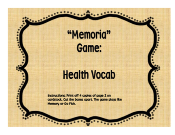 Memoria/Go Fish Spanish Health Cards