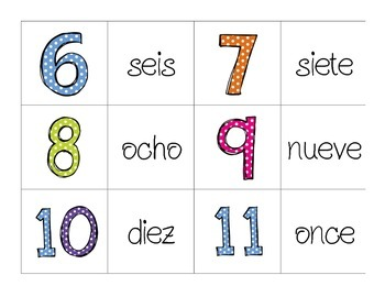 Spanish memory game - Numeros (numbers)