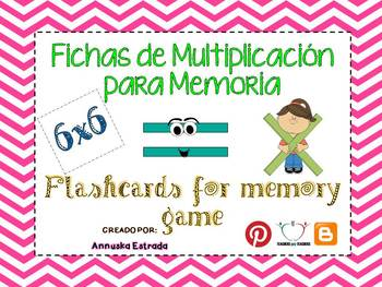 Memoria de multiplicaciones / Flashcards for Multiplication